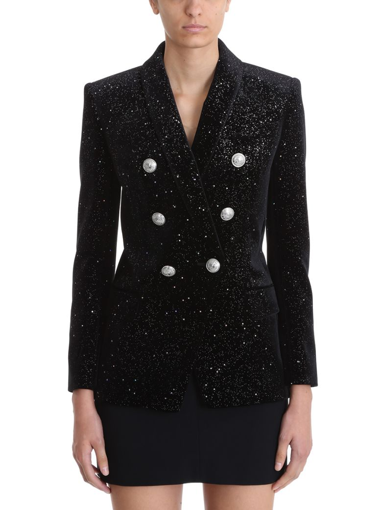 EMBROIDERY STRASS ALL OVER DOUBLE-BREASTED BLAZER