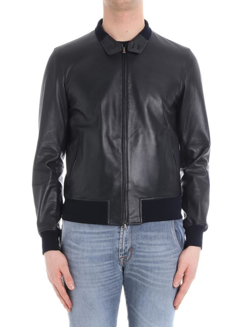 STEWART Leather Jacket in Blue