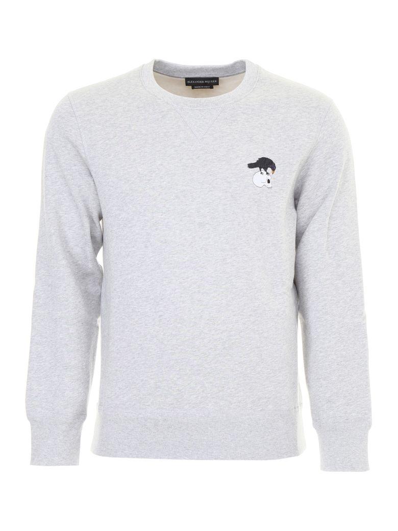 Mcqueen Fleece Cotton Mélange In Alexander Embroidered Grey Sweatshirt Back Blend Jersey dtHqx6w