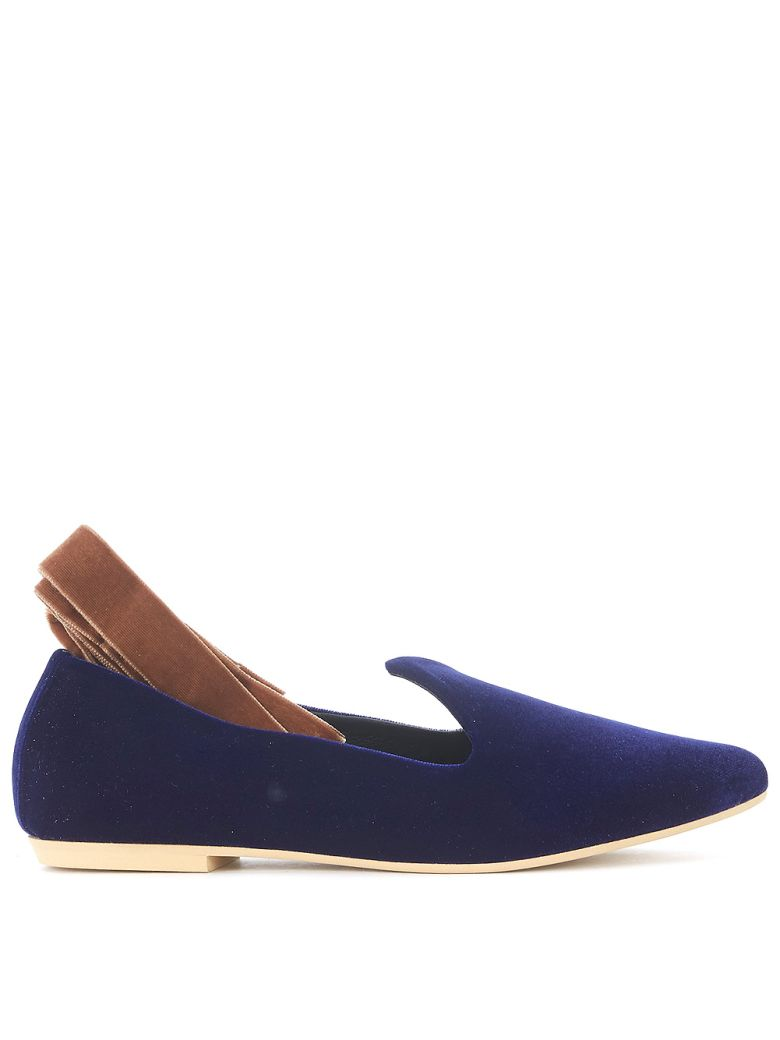 GIA COUTURE NIKKO BROWN AND BLUE VELVET FLATS