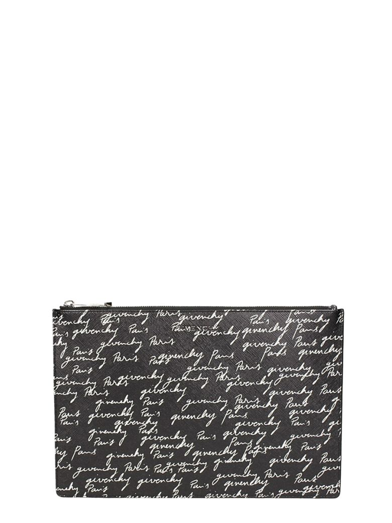 Medium Print Coated Canvas Pouch - Black