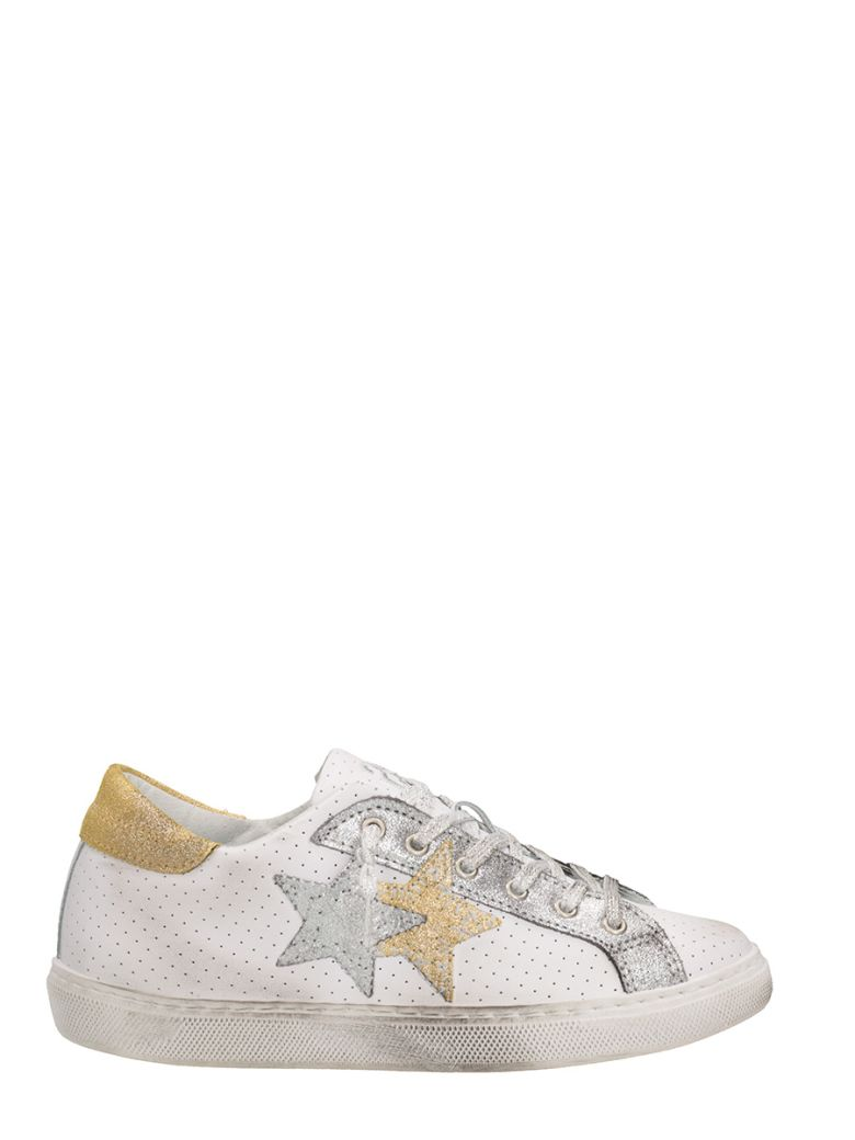 2star LOW WHITE GOLD PERFORATED LEATHER SNEAKERS