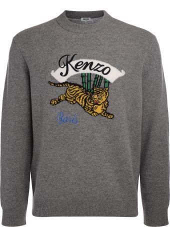 Kenzo Jumping Tiger Grey Wool Jumper
