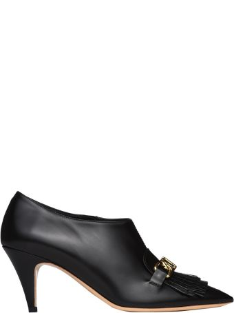 Tod's Ankle Boot With Pointed Fringed Toe In Black Leather