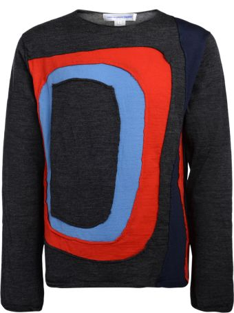 Comme des Garçons Shirt Grey Sweater With Multicolor Inserts