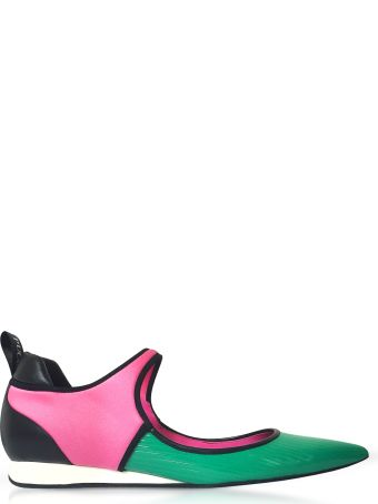 Emilio Pucci Color Block Leather Flat Ballerinas