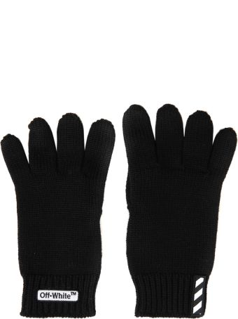 Off-White Ribbed Wool Gloves