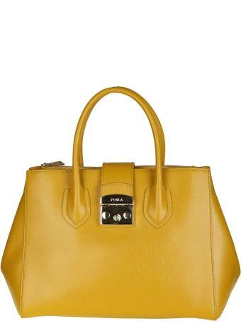 "Furla ""metropolis M"" In Leather Color Yellow Senape"