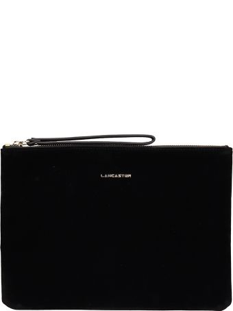Lancaster Paris Black Velvet Large Clutch