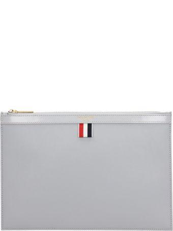 Thom Browne Grey Leather Clutch Bag