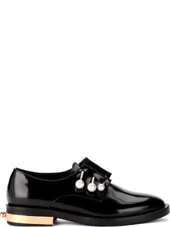 Coliac Derby Coliac Fernanda Black Leather Shoes With Jewel Pins