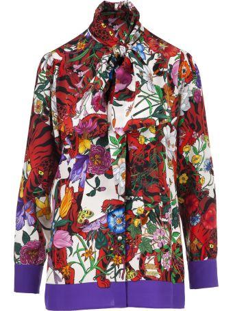 Gucci Flora Tiger Print Blouse
