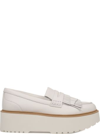 Hogan White H355 Leather Wedge Loafer