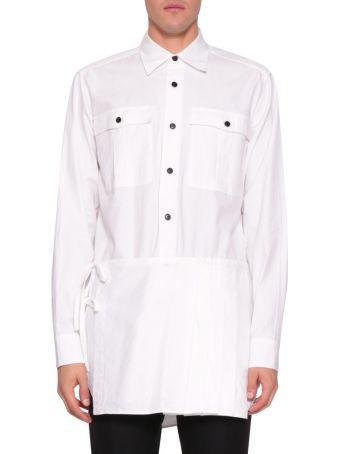 Dries Van Noten White Cotton Pleated Panel Shirt