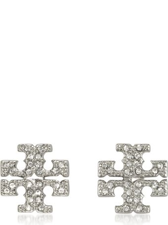 Tory Burch Crystal Logo Cross-stud Earrings