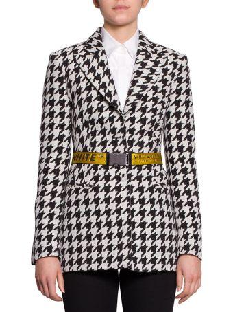 Off-White Houndstooth Belted Wool Blazer