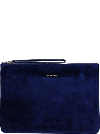 Lancaster Paris Blue Velvet Large Clutch