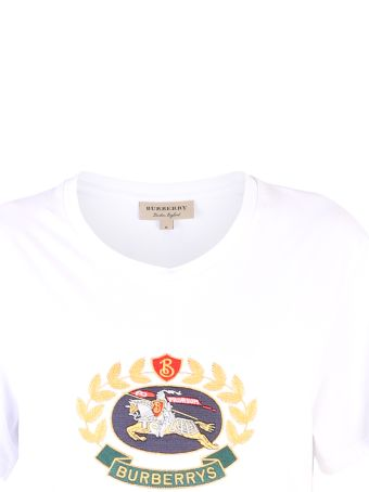 Burberry White Embroidered T-shirt