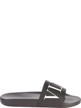 Valentino Garavani Black Branded Slide Sandals