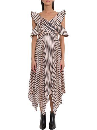 self-portrait Striped Midi Dress With Pleated Skirt