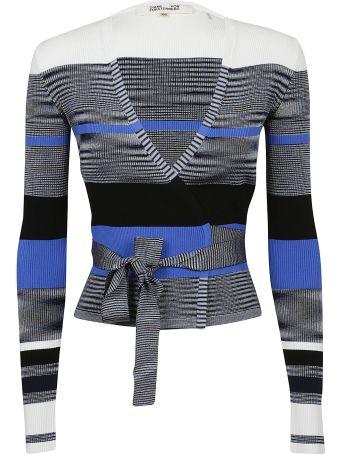 Diane Von Furstenberg Striped Wrap Cardigan