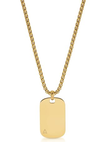 Northskull Ns Id Tag Necklace In Yellow Gold