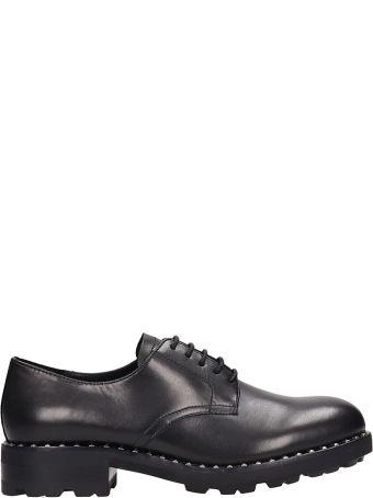Ash Whisper Black Leather Lace Up