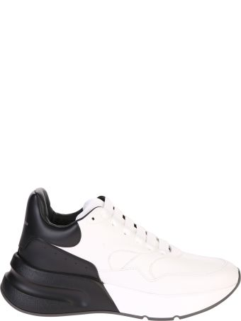 Alexander McQueen White And Black Lace Up Sneakers
