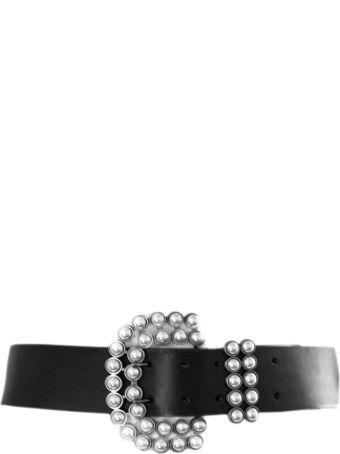 Philosophy di Lorenzo Serafini Black Calf Leather Pearl Embellished Buckle Belt,
