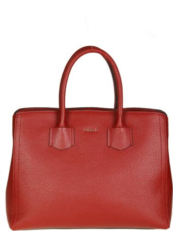 """Furla """"alba M"""" Shopping In Cherry Color Leather"""
