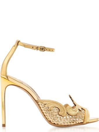 Sophia Webster Golden Mirror Leather And Mesh Rivera Sandal