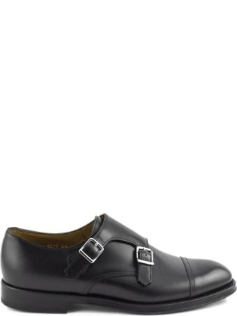 Doucal's Black Leather Monk Strap Shoes.