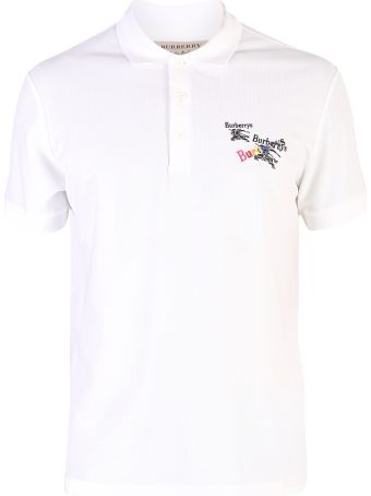 Burberry White Embroidered Polo