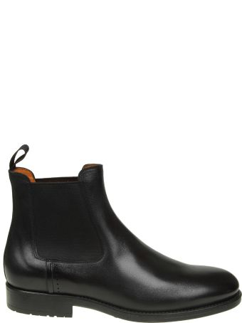 Santoni Beatles Shoe In Black Leather