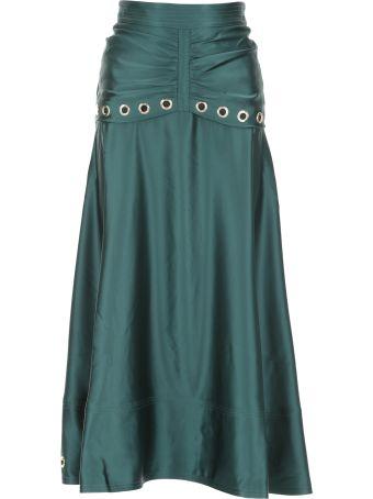 self-portrait Satin Skirt With Metallic Eyelets