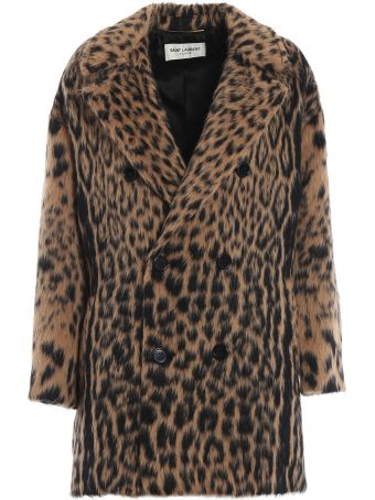 Saint Laurent Double Breasted Leopard Coat