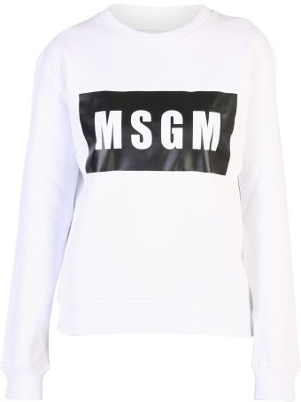 MSGM White Branded Sweatshirt