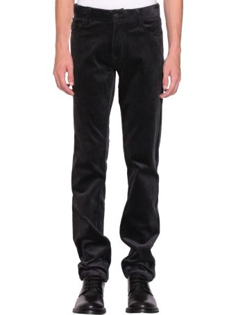 Ann Demeulemeester Charcoal Ribbed Velvet Conducting Trousers
