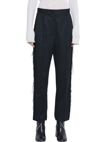 MM6 Maison Margiela Black Wool Blend Panelled Trousers