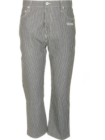 Off-White Stripe Thigh Cropped Trousers