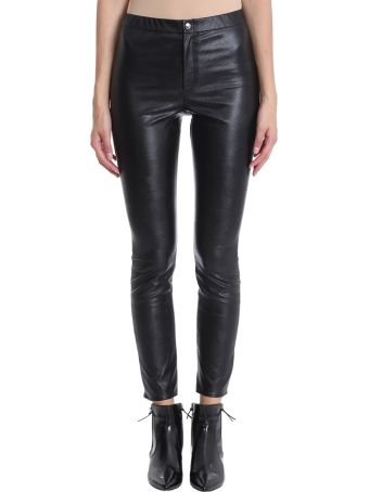 Isabel Marant Étoile Black Leather Zeffery Trousers