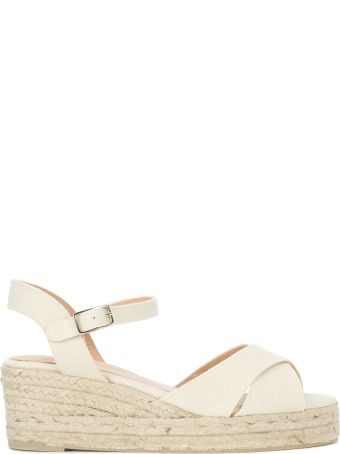 Castañer Blaudell Light Beige Fabric Wedge Sandal