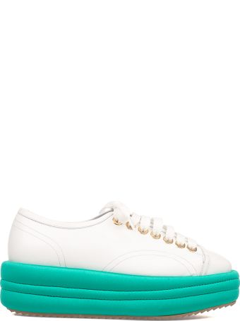 Marc Ellis White/teal Blue Leather Wedge Sneakers