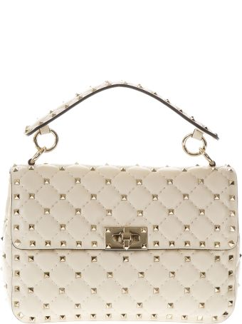 Valentino Garavani Spike Ivory Quilted Leather Bag