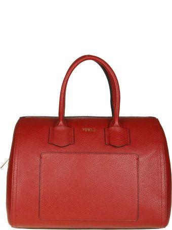 "Furla ""alba"" Hand Bag In Cherry Color Leather"