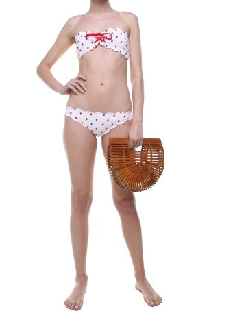 Marysia Swim Antibes Tie Scalloped-edges Bandeau Bikini Top