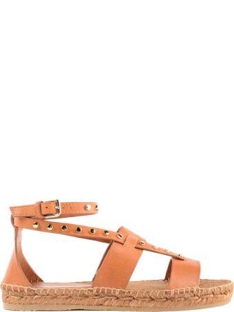 Jimmy Choo Vachetta Leather Flat Sandal