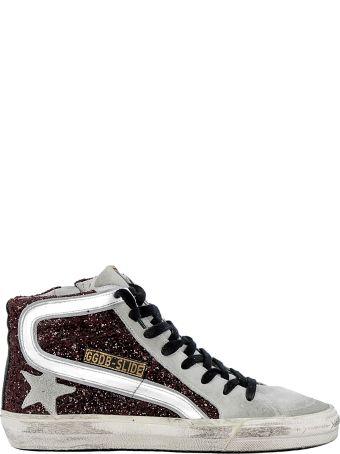 Golden Goose Bordeaux Glitter Sneakers
