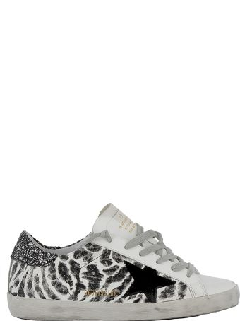 Golden Goose Leopard White/black Leather Sneakers