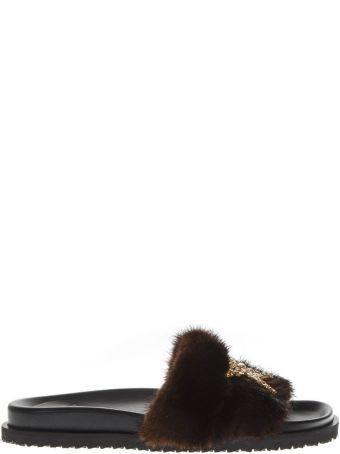 Emanuela Caruso Brown Leather Slippers With Faux Fur